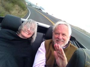 Ron with Karen Nelson in the back of my (rented) convertible at Tomales Bay October 2013